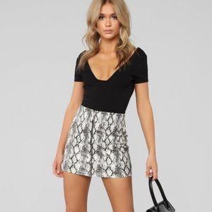 FashionNOVA snakeskin zipper mini skirt